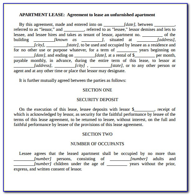 Apartment Lease Agreement Template Word