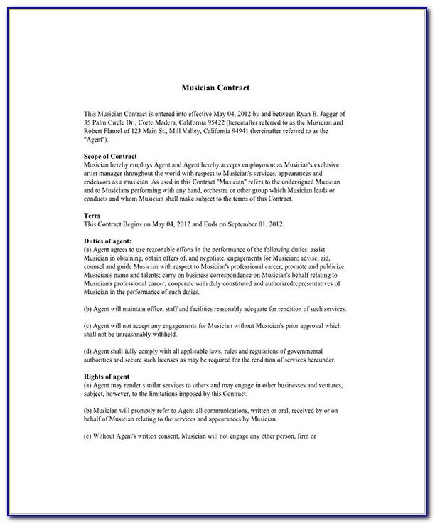 Artist Booking Contract Template