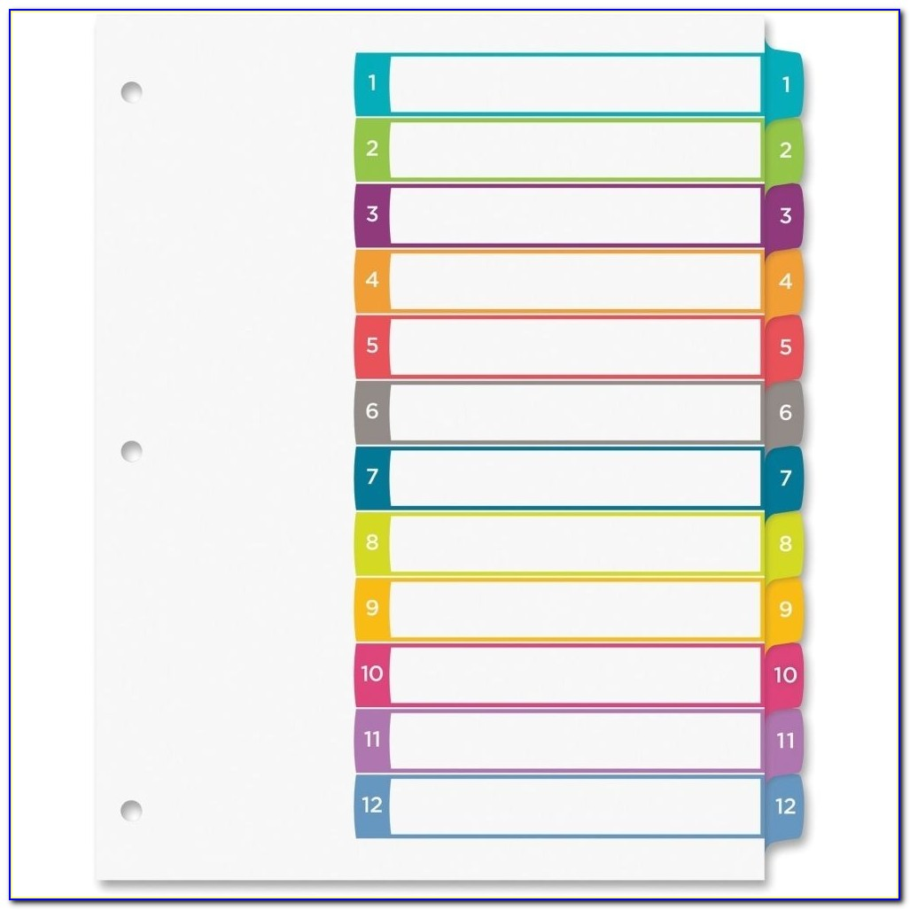 Avery Ready Index Divider Templates 8 Tab Avery Ready Index Template 15 Tab