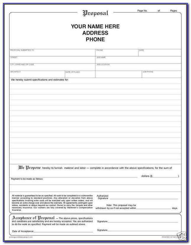 Bid Proposal Template Free Download