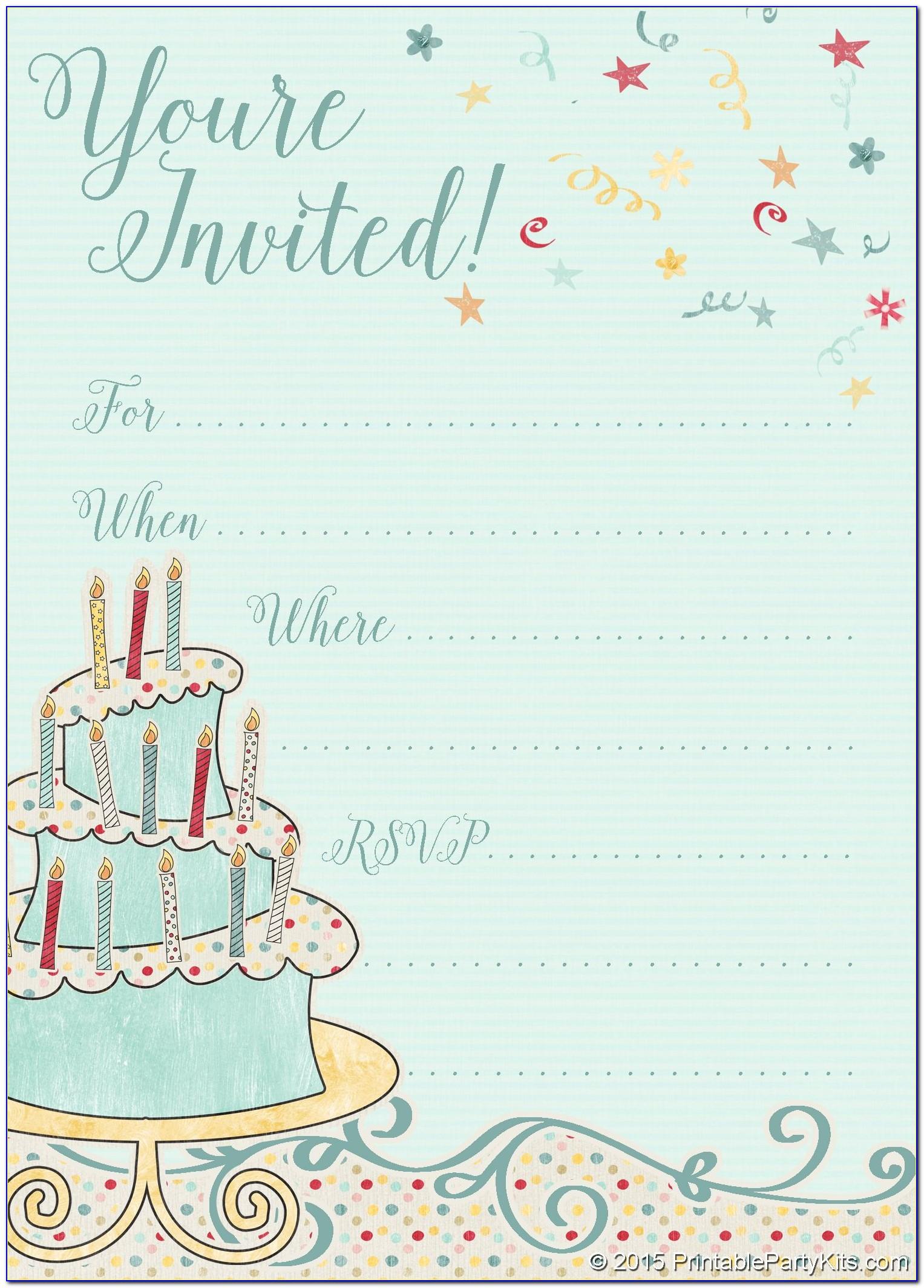Birthday Party Invitation Template Printable
