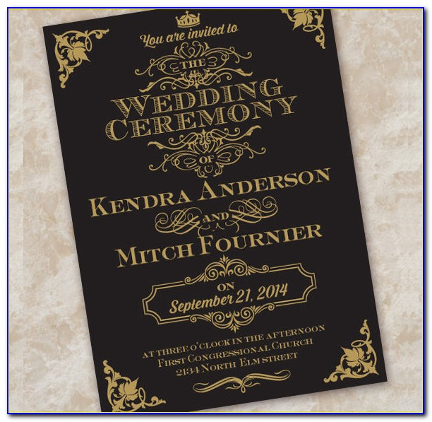 Black And Gold Wedding Invitation Templates