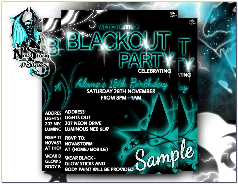 Black Light Party Invitation Templates Free