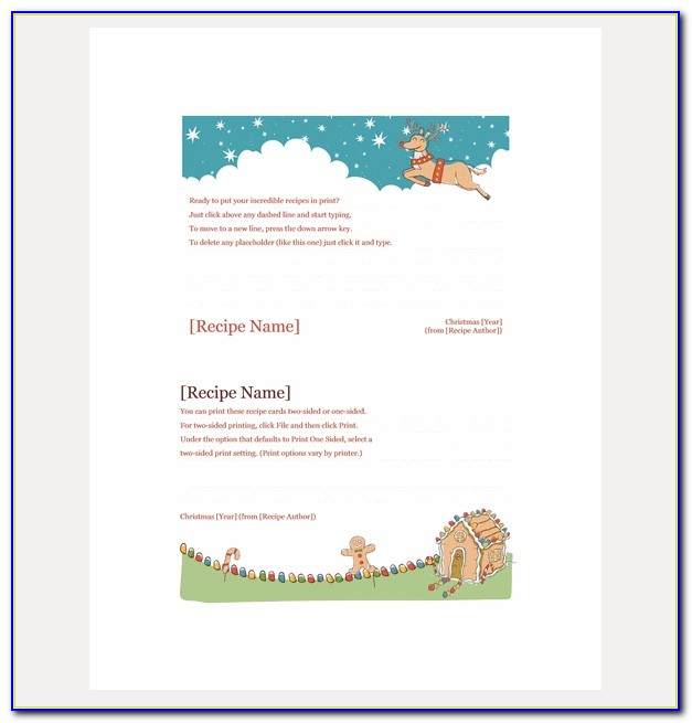 Blank Christmas Recipe Card Template