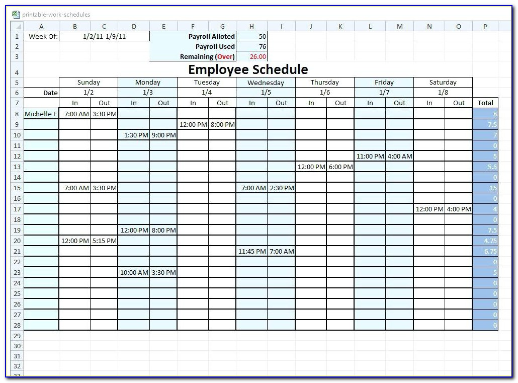 Blank Restaurant Employee Schedule Template