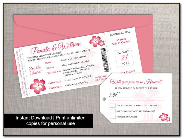 Boarding Pass Wedding Invitation Template Free Download