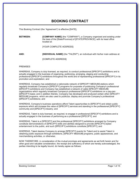 Booking Agreement Template