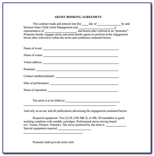 Booking Contract Template