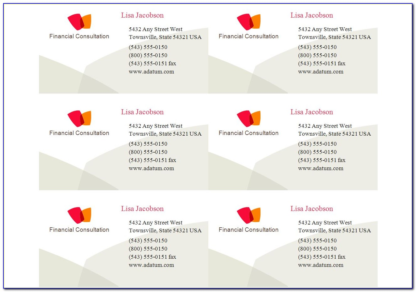 Business Cards Avery 5371 Template