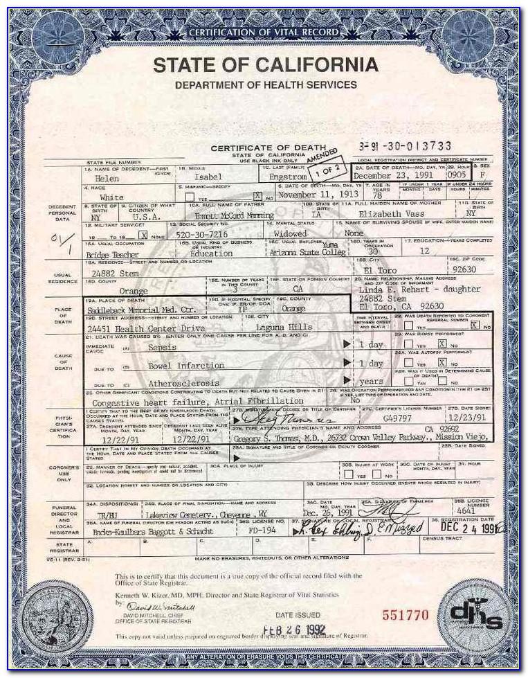California Birth Certificate Template