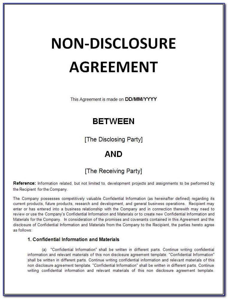 Cda Confidential Disclosure Agreement Template