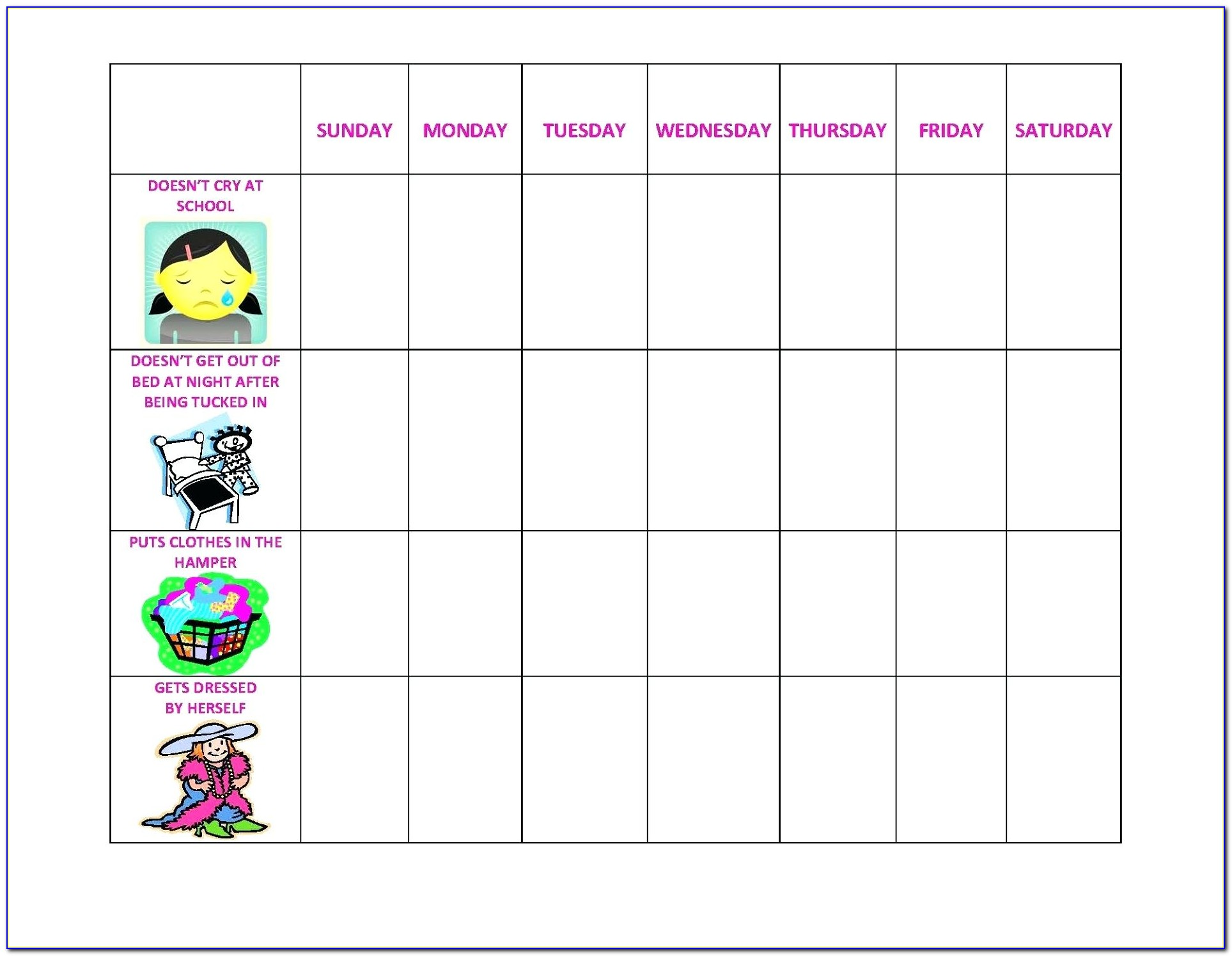 Children's Behavior Chart Template
