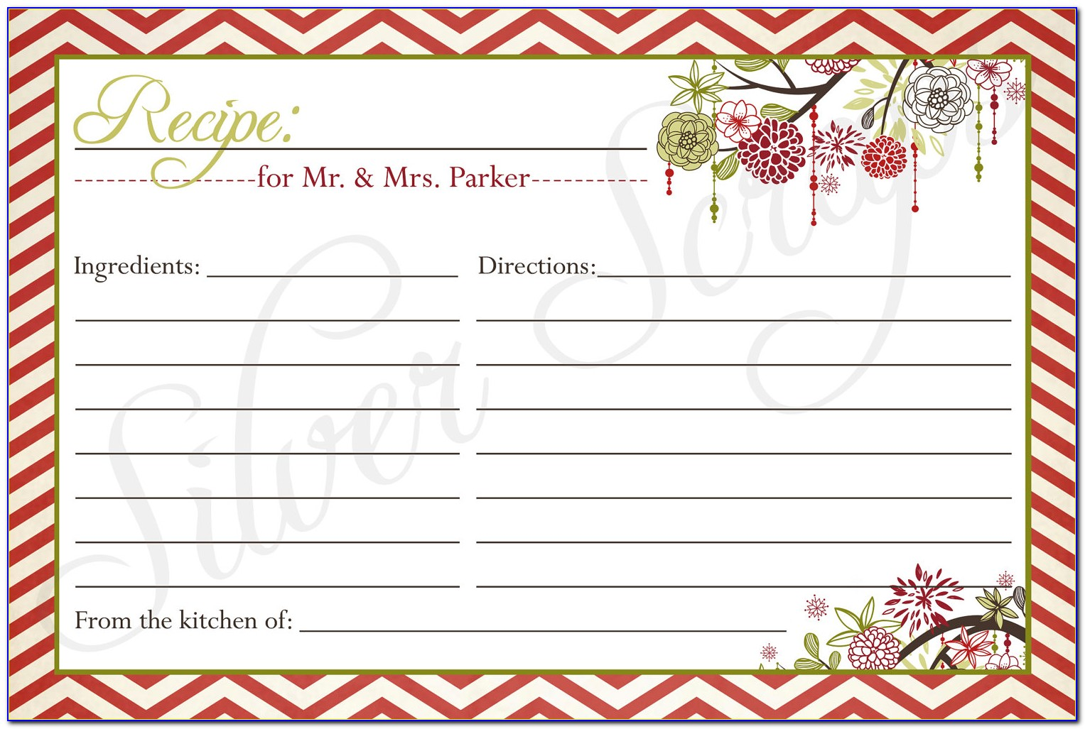 Christmas Recipe Card Template For Word