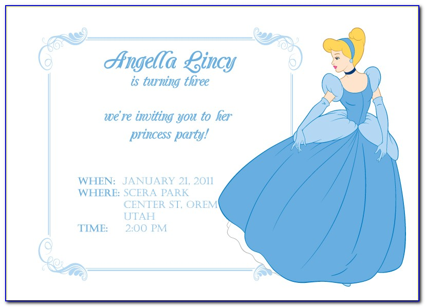 Cinderella Birthday Invitation Card Template