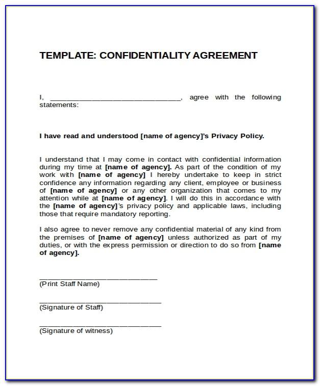 Confidentiality Agreement Template Australia