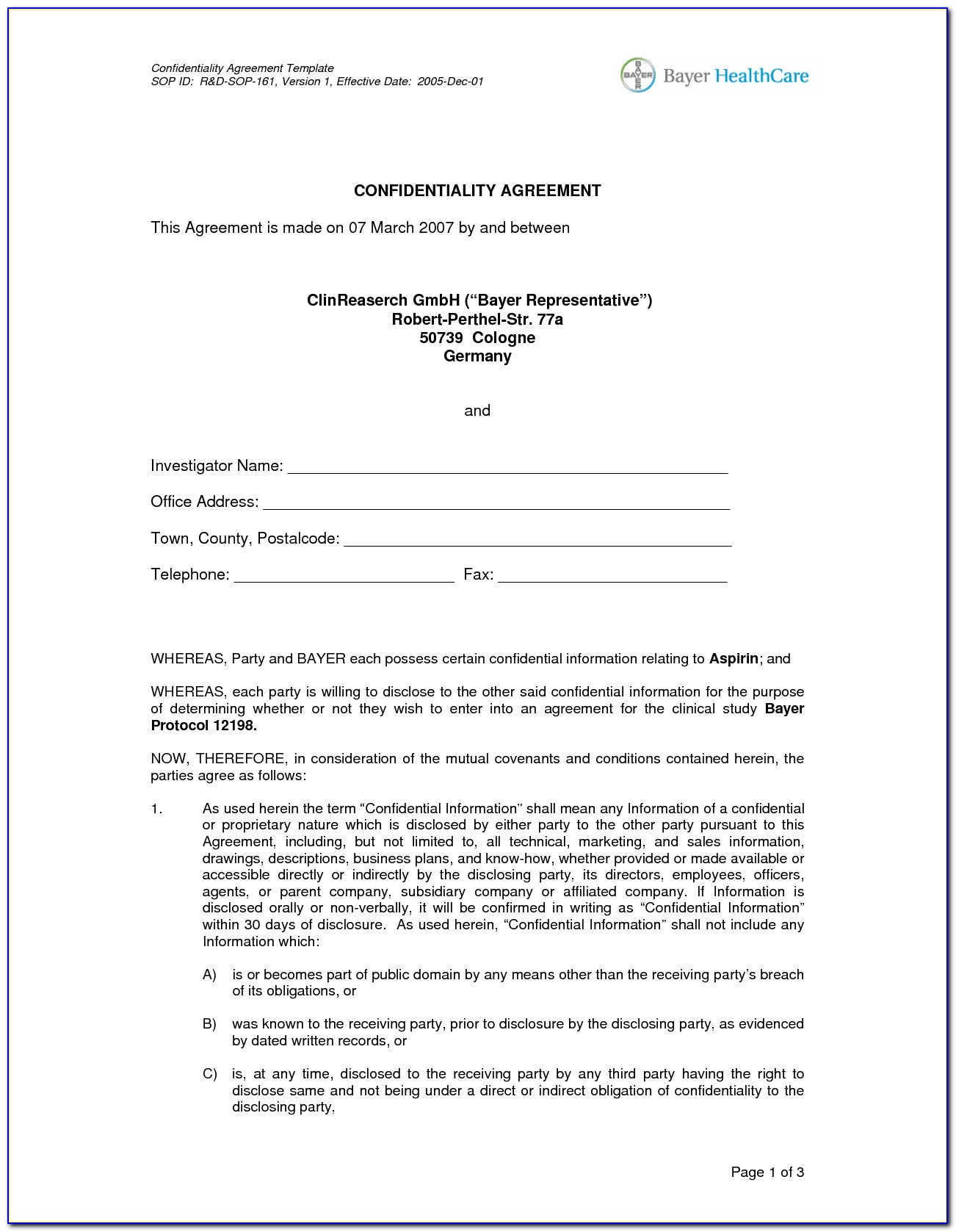 Confidentiality Agreement Templates Free