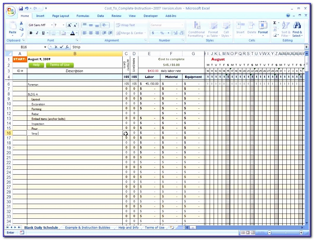 Construction Project Schedule Template Excel Free Cjhbc Lovely Cost To Plete For Construction In Excel