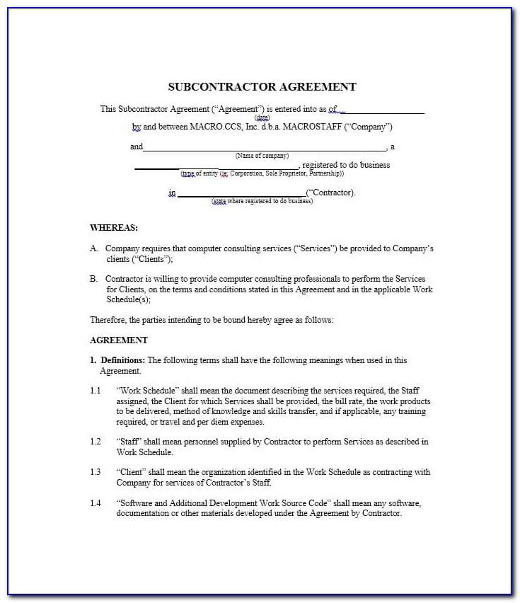 Construction Subcontractor Agreement Template Australia