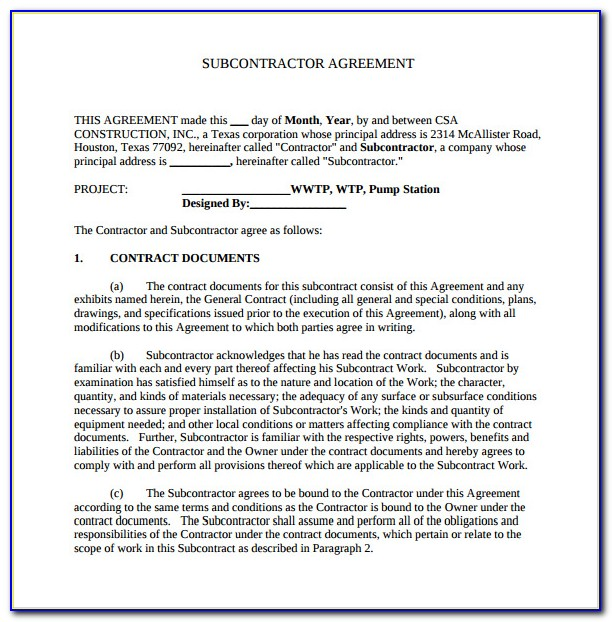 Construction Subcontractor Agreement Template Word