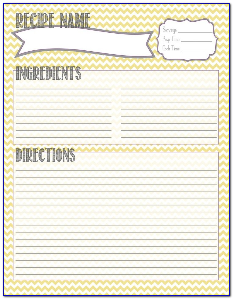 Cookbook Recipe Page Template