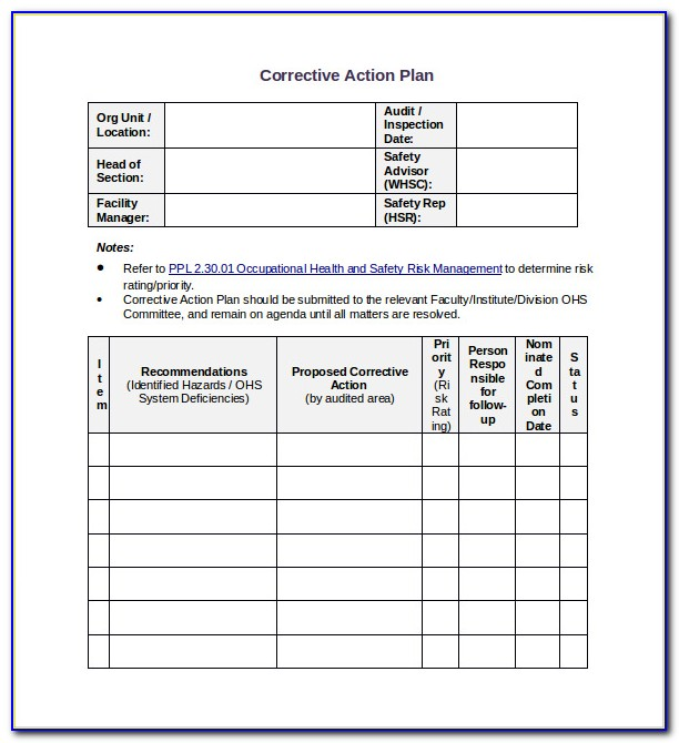 Corrective Action Plan Sample
