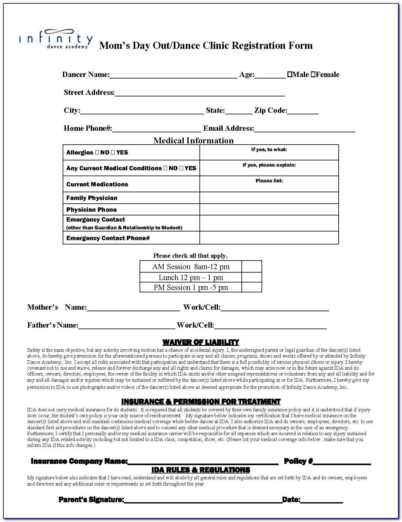 Dance Competition Registration Form Template