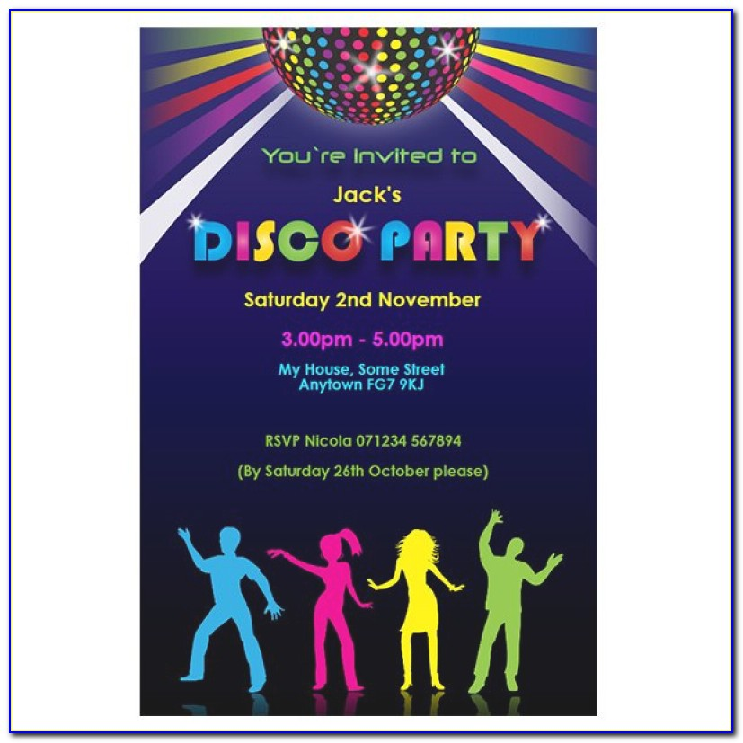 Free Party Invitation Templates Disco Party Invitatioin Designs