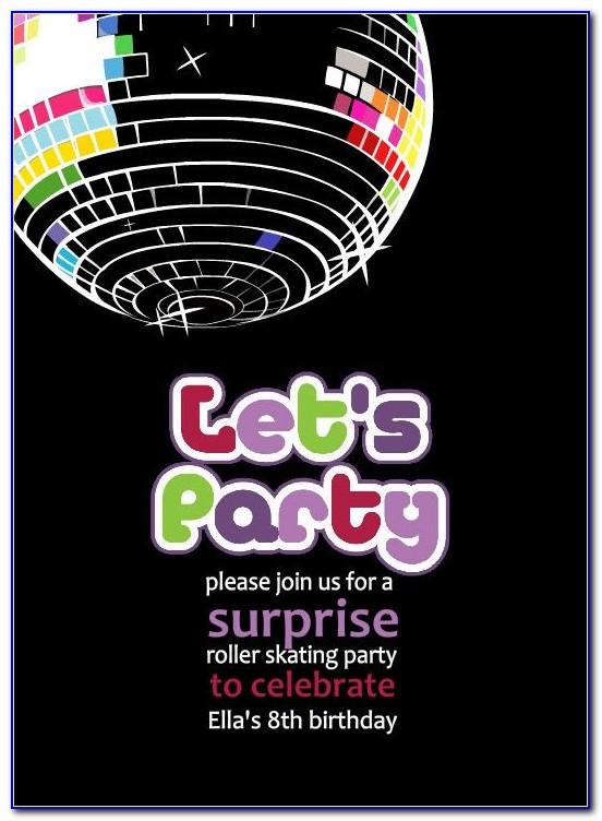 Disco Birthday Party Invitation Templates Free