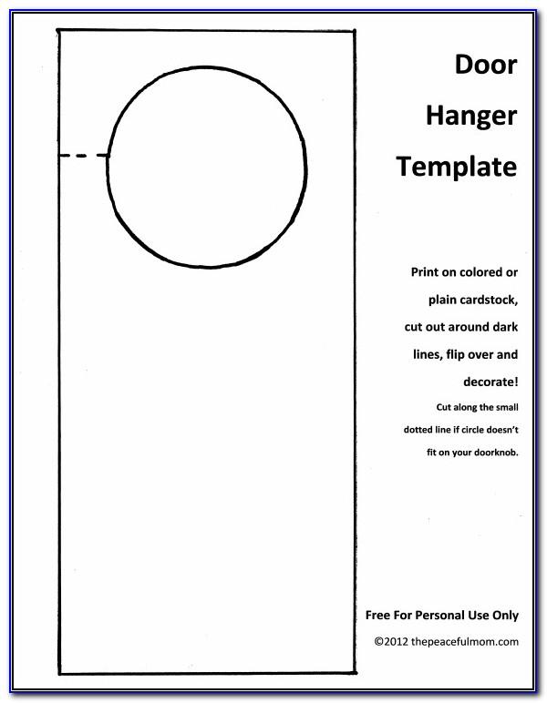 Door Knob Hanger Template Microsoft Word
