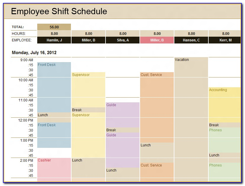 Excel Template For Scheduling Employee Shifts