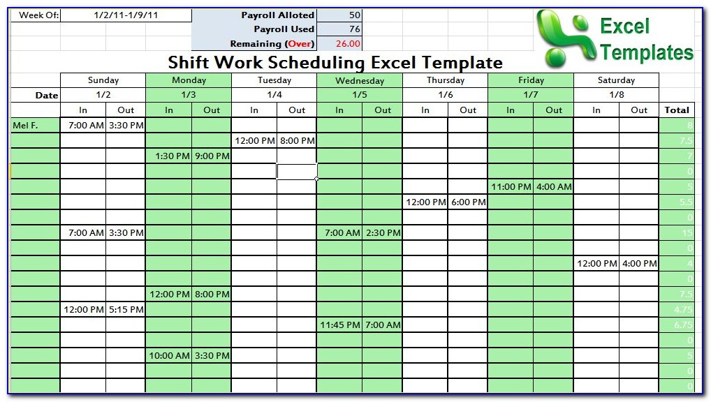 Excel Templates For Scheduling Appointments