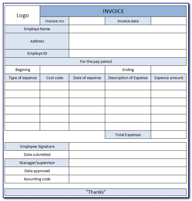 Expense Invoice Template Excel