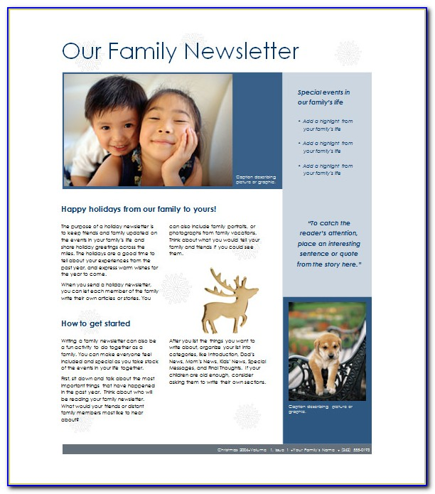 Family Reunion Newsletter Templates Free