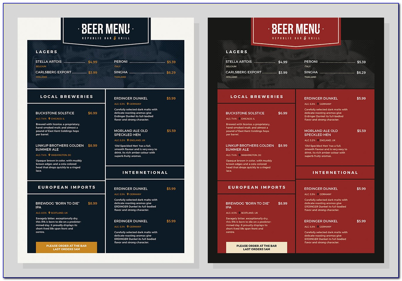 Free Beer And Wine Menu Templates