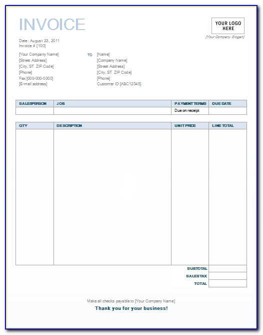 Free Billing Invoice Template Microsoft Word