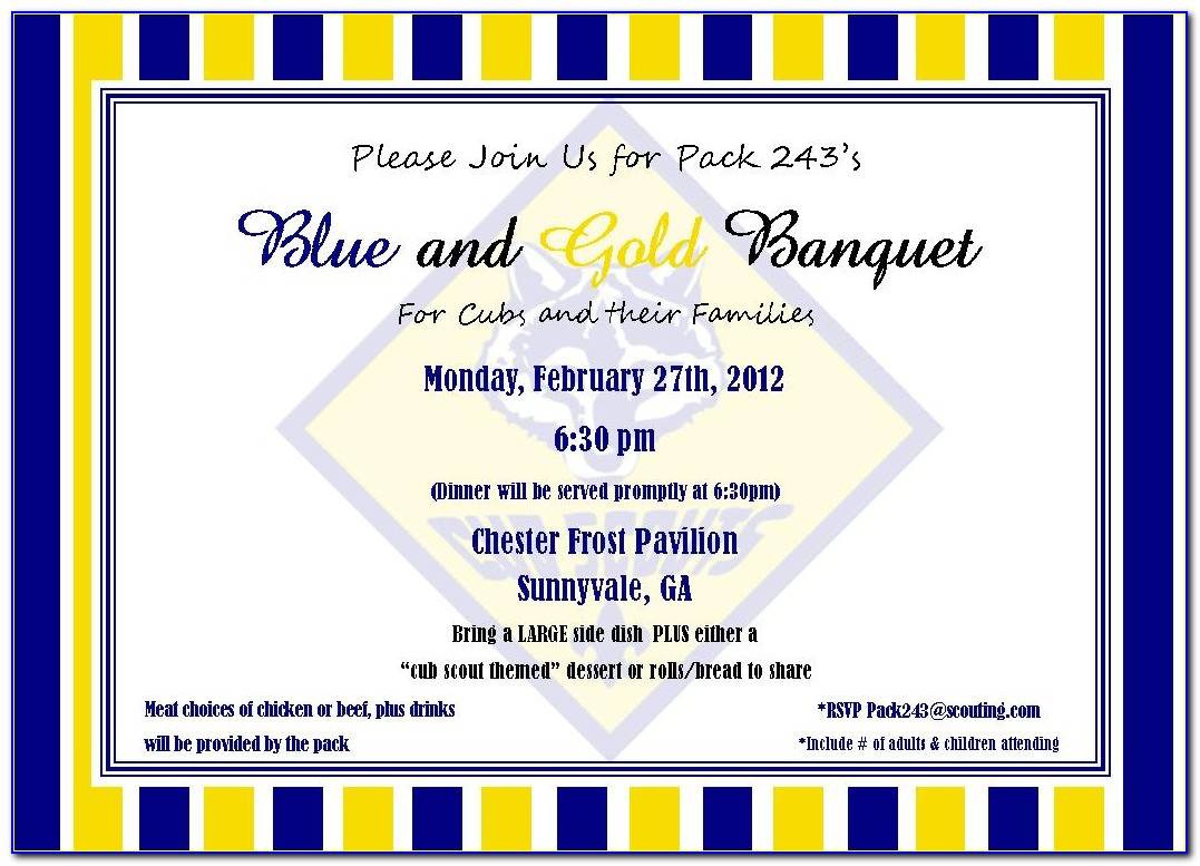 Free Blue And Gold Invitation Templates
