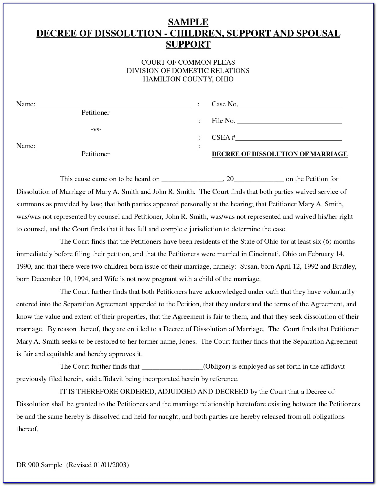 Free Divorce Decree Template