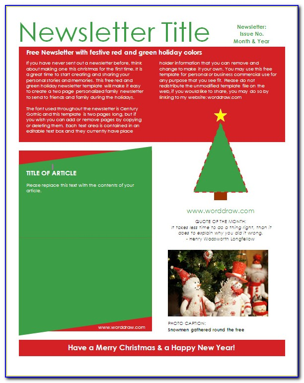 Free Download Christmas Newsletter Templates