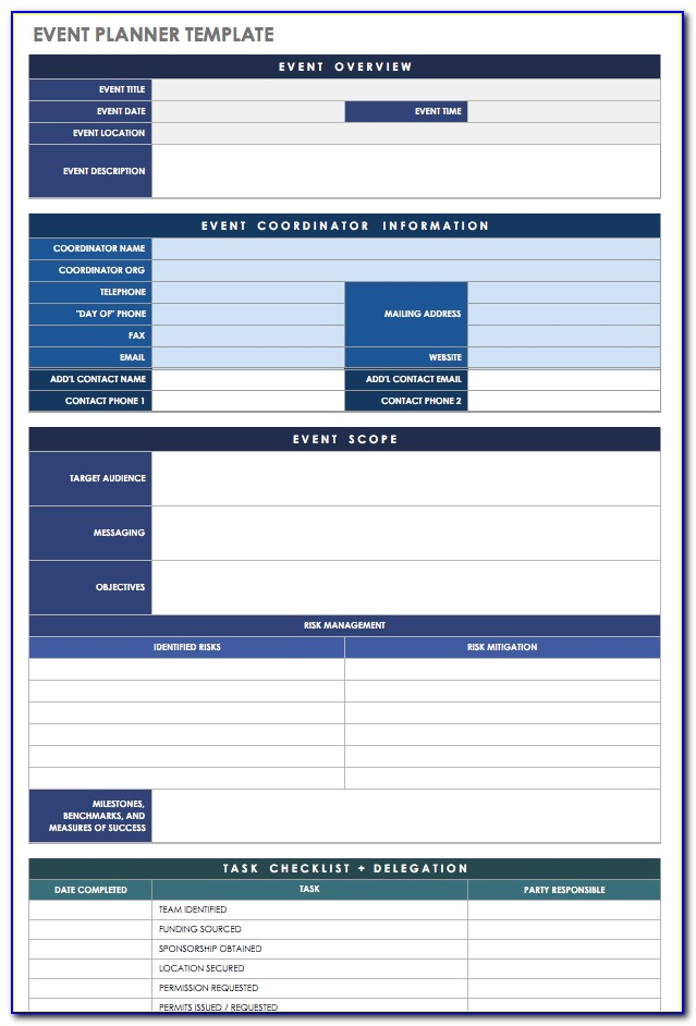 Free Download Event Planner Template