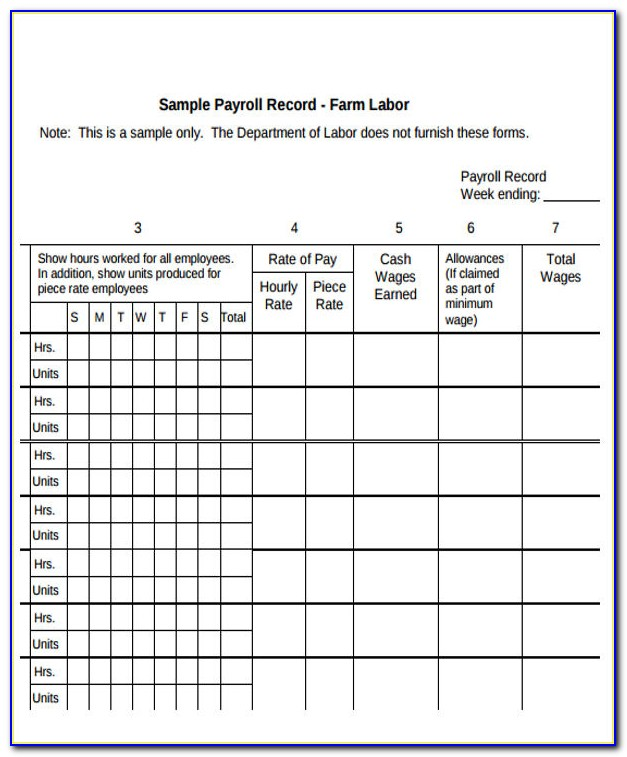Free Employee Payroll Record Template