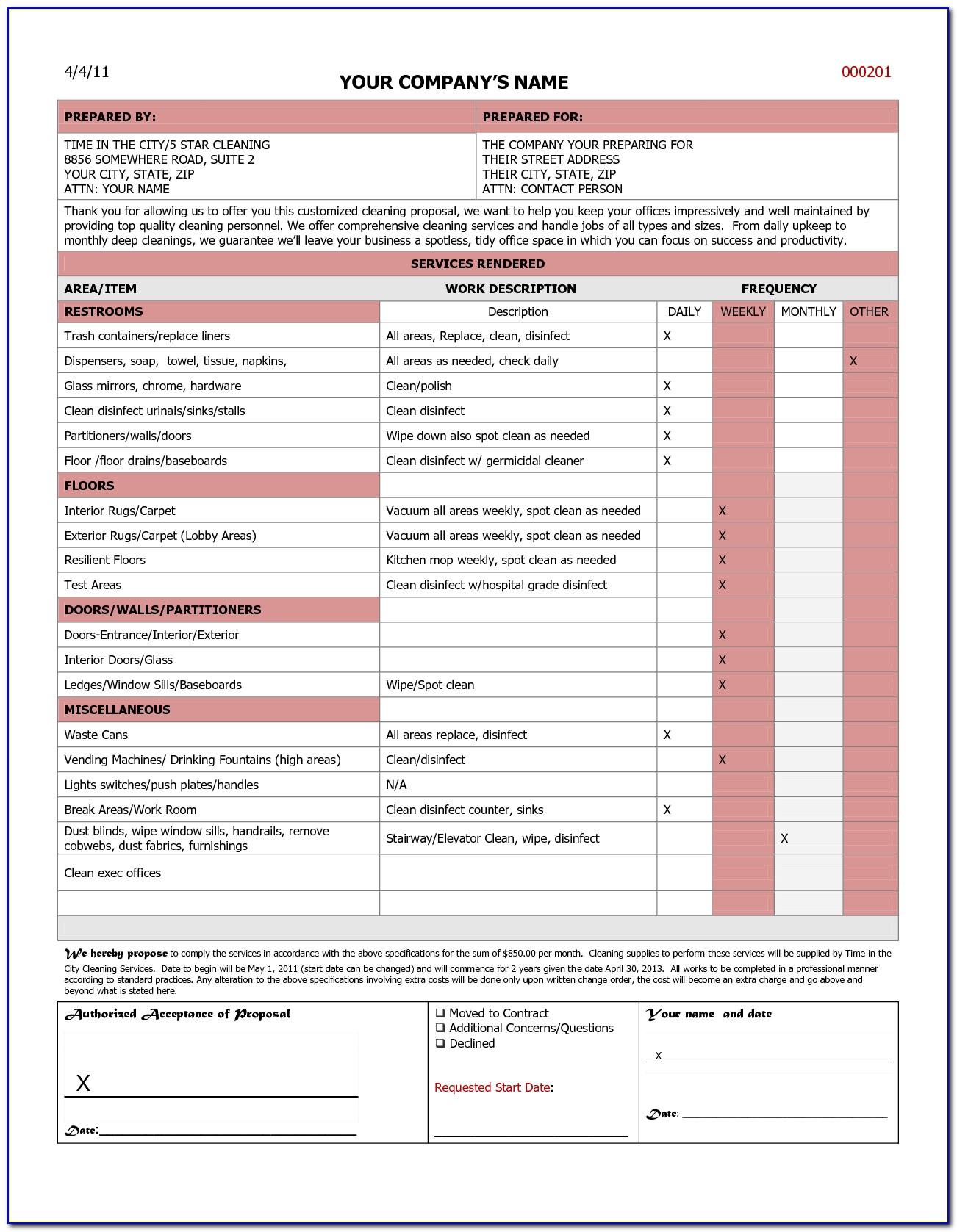 Free Janitorial Bid Proposal Template