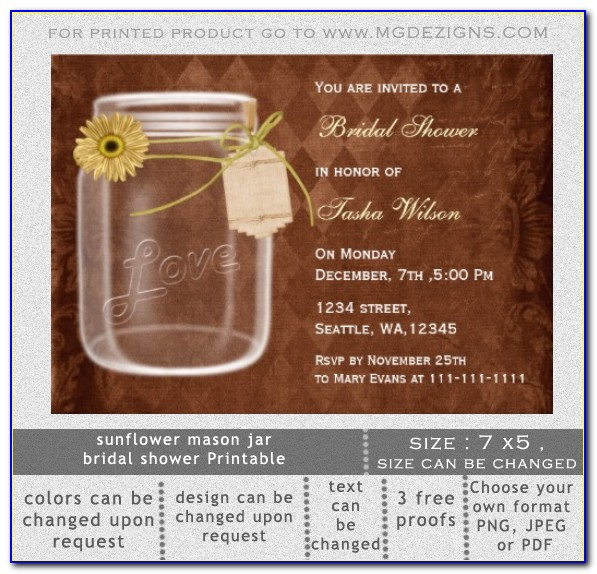 Free Mason Jar Bridal Shower Invitation Templates