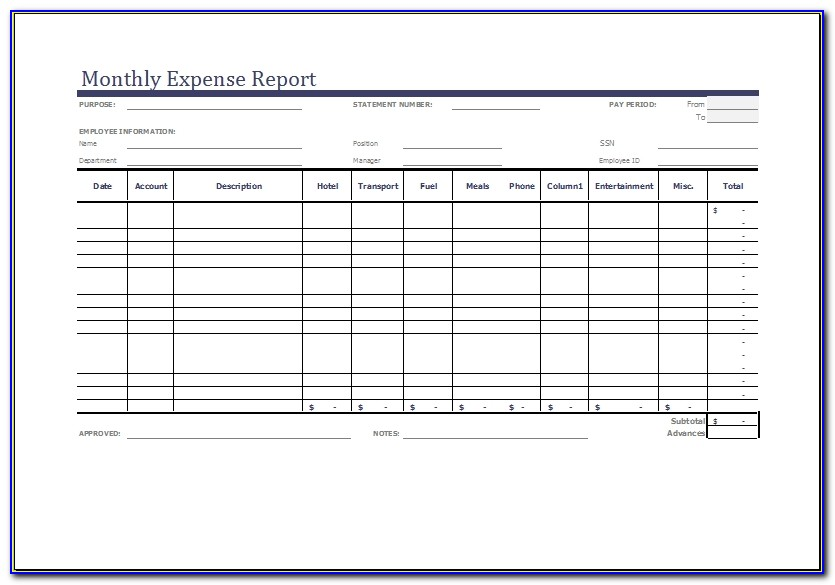 Monthly Expense Report Template Ms Excel Word Document Templates Expense Report Template Excel