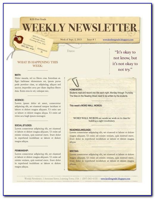 Free Preschool Weekly Newsletter Template