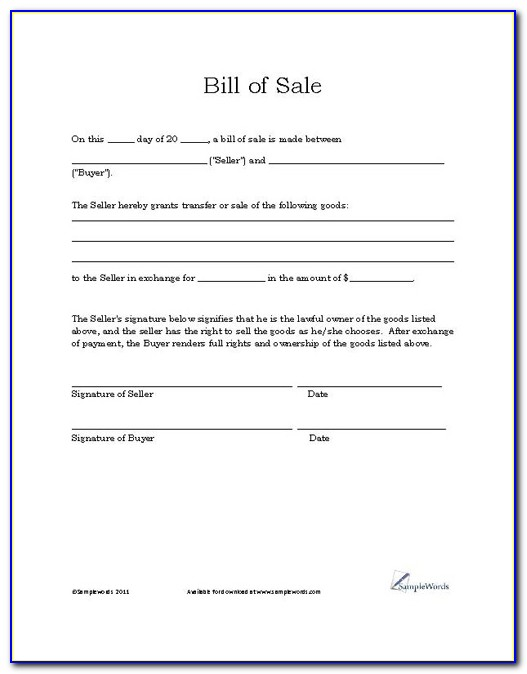 Free Printable Bill Of Sale Template For Car