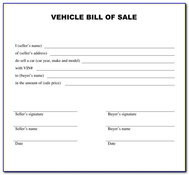Free Printable Bill Of Sale Template Ga