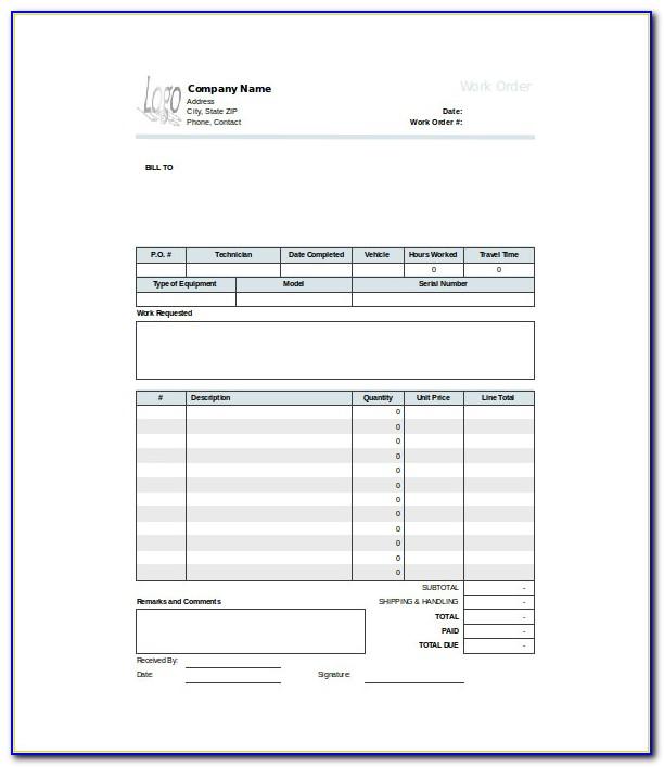 Free Printable Work Order Templates