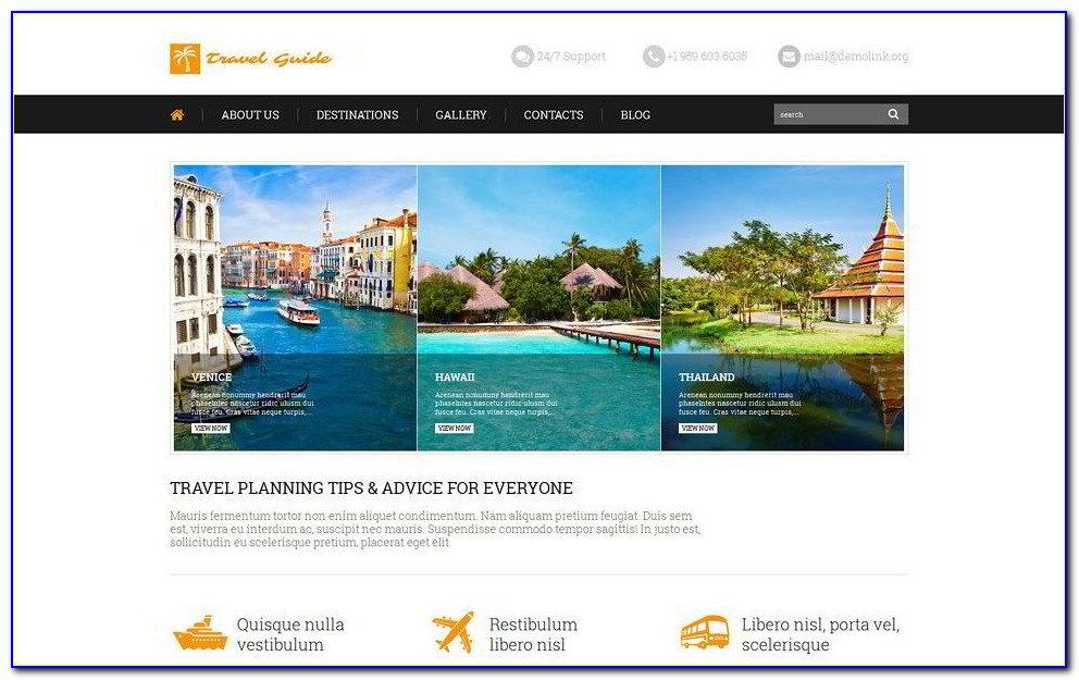 Free Tourism Website Template