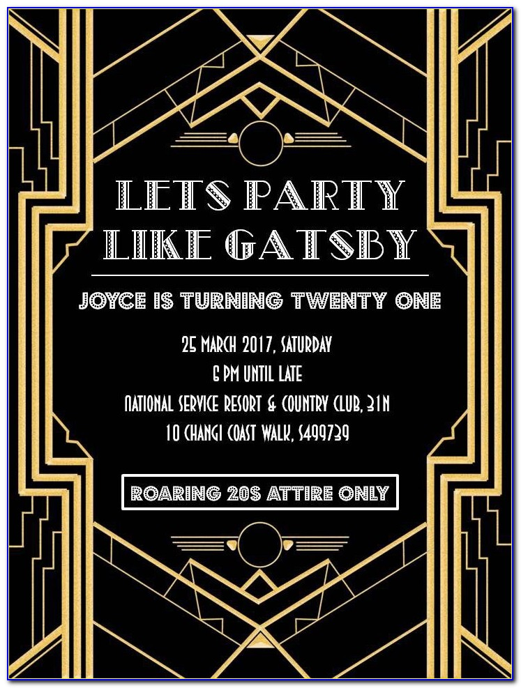 Great Gatsby Invitation Template Free Download