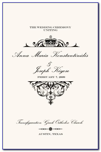 Greek Orthodox Wedding Ceremony Program Template